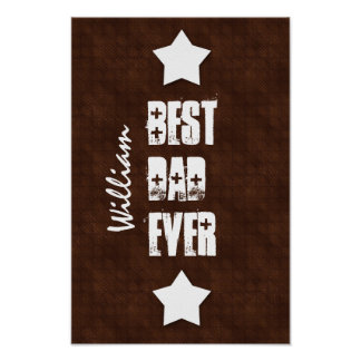 Best DAD Ever Chocolate Dots White Stars M70Z Poster