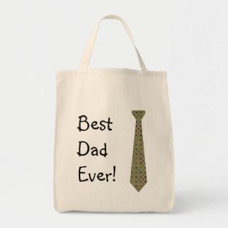 Best Dad Ever Dark Polka Dot Fake Tie Grocery Tote Bag