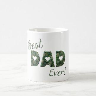 Best Dad Ever Elegant Green Floral Typography Mug