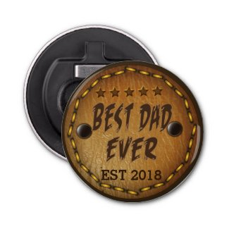 Best Dad Ever Leather Alike Texture Custom Bottle Opener