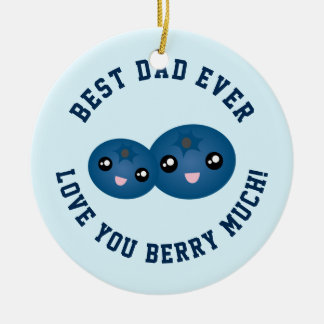 Best Dad Ever Love You Berry Much Christmas Round Ceramic Decoration