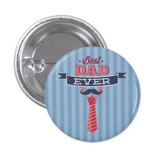 Best Dad Ever Mustache and Tie Blue Stripes 3 Cm Round Badge