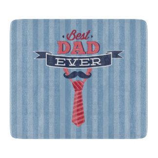 Best Dad Ever Mustache and Tie Blue Stripes Cutting Boards