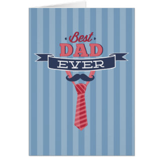 Best Dad Ever Mustache and Tie Blue Stripes Greeting Card