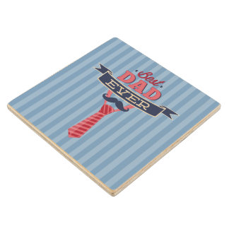 Best Dad Ever Mustache and Tie Blue Stripes Maple Wood Coaster