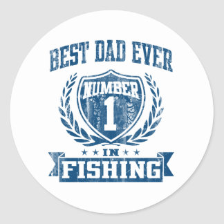 Best Dad Ever Number One In Fishing Round Sticker