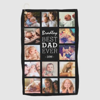 Best Dad Ever Photo Collage Golf Towel