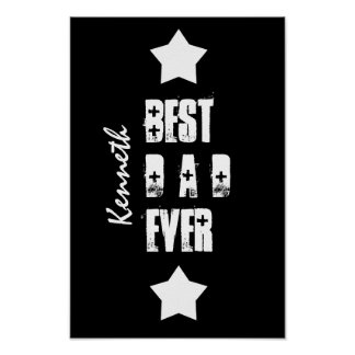 Best DAD Ever Stars Black White Custom Name Z3 Poster