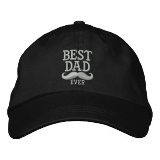 Best Dad Ever Super Dad Mustache Embroidery Embroidered Hats
