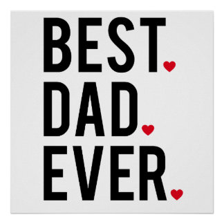 best dad ever, word art, text design, red hearts poster