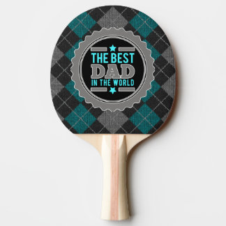 Best Dad in the World Argyle Patterned Ping Pong Paddle