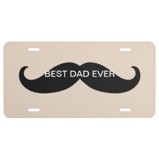 Best Dad Mustache License Plate