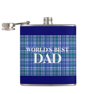 Best dad plaid scottish stripes hip flask