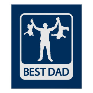 Best Dad Poster / Print - Father with Kids