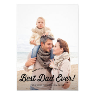 Best Dad   Retro Calligraphy Father's Day Card 13 Cm X 18 Cm Invitation Card