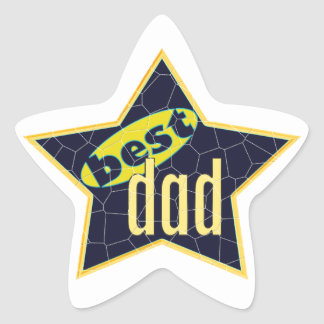 Best Dad Star - Black and Yellow Star Sticker
