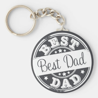 Best Dad -  white rubber stamp effect - Basic Round Button Key Ring