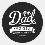 Best Dark New Dad 2016 Round Sticker