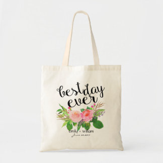 """""""Best Day Ever"""" Floral Wedding Welcome Gift Budget Tote Bag"""
