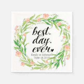 """Best Day Ever"" Floral Wreath Wedding2 Paper Napkin"