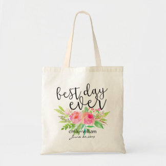 """""""Best Day Ever""""Flower Bouquet Wedding Welcome Gift Budget Tote Bag"""
