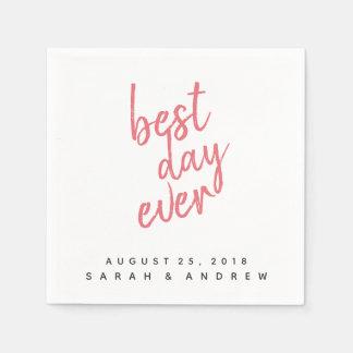 Best Day Ever Pink Wedding Napkin Disposable Serviette