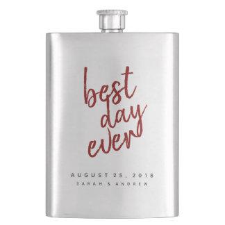 Best Day Ever Red Groomsmen Flask