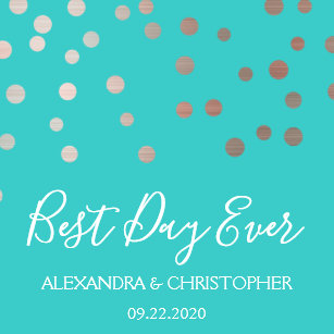 91d8b26c2e6a Best Day Ever Teal Blue Confetti Wedding Napkin