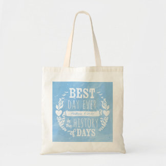Best Day Ever Watercolor, Baby Boy Birthday Budget Tote Bag