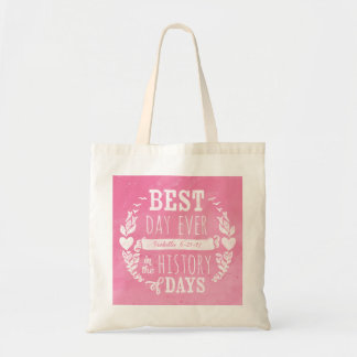 Best Day Ever Watercolor, Baby Girl Birthday Budget Tote Bag