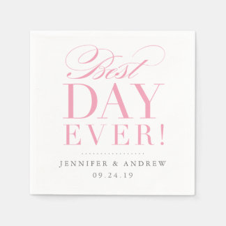 Best Day Ever Wedding Napkin Pink Disposable Serviette