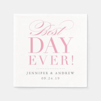 Best Day Ever Wedding Napkin Pink Disposable Serviette