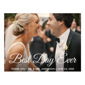 Best Day Ever Wedding Photo Thank You Postcard