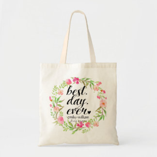 """""""Best Day Ever"""" Wedding Welcome Gift Budget Tote Bag"""