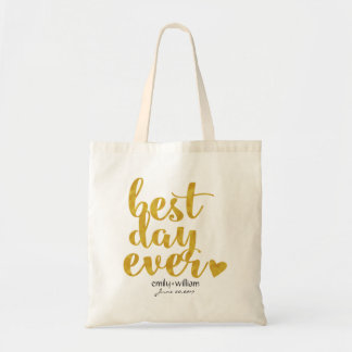 Best Day Ever|Wedding Welcome Gift/Favor|Gold Budget Tote Bag