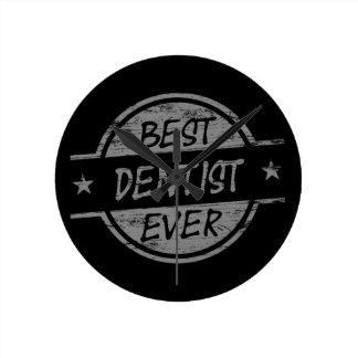 Best Dentist Ever Gray Round Wallclocks