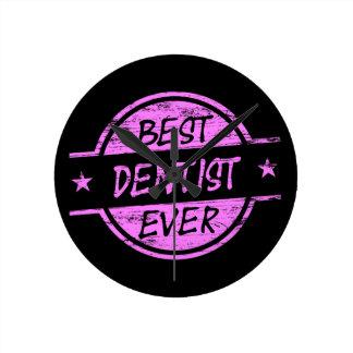 Best Dentist Ever Pink Round Clock