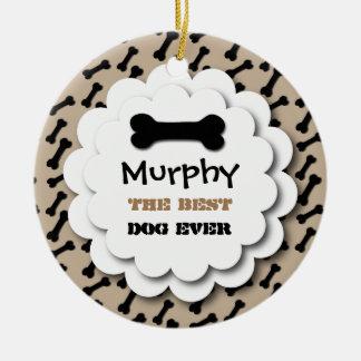 Best Dog Ever Cute Dog Bones Custom Photo A2 TAN Christmas Ornament