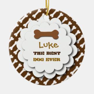 Best Dog Ever Cute Dog Bones Custom Photo D6 BROWN Christmas Ornament