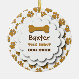 Best Dog Ever Dog Paw Prints Custom Photo B6 GOLD Christmas Ornament