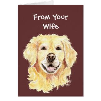 Best Doggone Birthday Husband Golden Retriever Dog Greeting Card