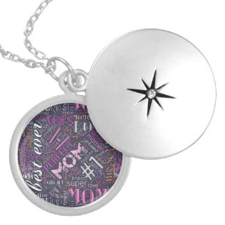 Best Ever Mom Word Cloud ID262 Silver Plated Necklace