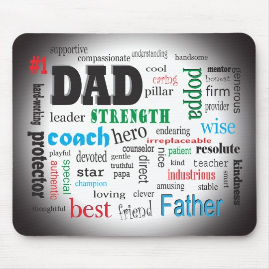 Best Father Dads Day Word Cloud Mouse Mat