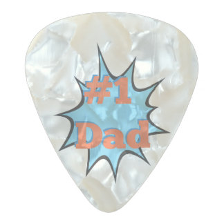 Best Father Number One Dad #1 Pearl Celluloid Guitar Pick
