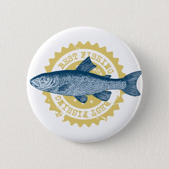 """Best fishing"" trout fishing logo, 6 Cm Round Badge"