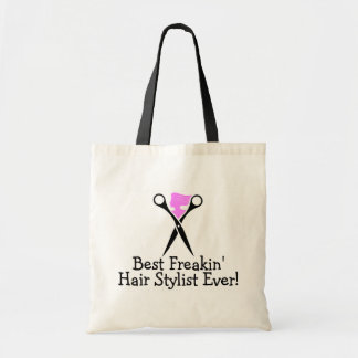 Best Freakin Hair Stylist Ever Pink Black Tote Bag