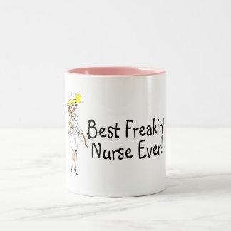 Best Freakin Nurse Ever Two-Tone Mug