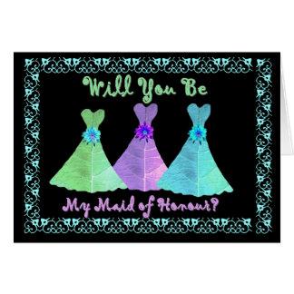BEST FREND - Maid of Honour - Blue Green Purple Card