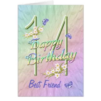 Best Friend 14th Birthday Butterfly Garden Card