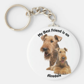 Best Friend Airedale Basic Round Button Key Ring